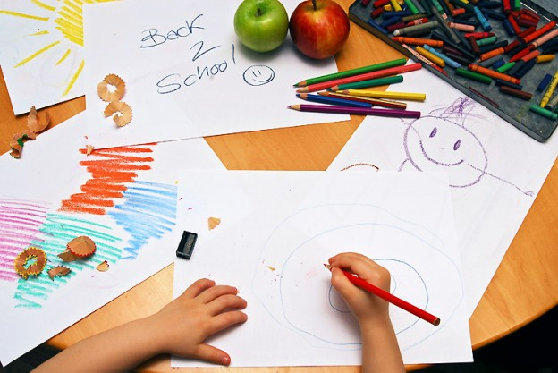 Girl drawing back to school